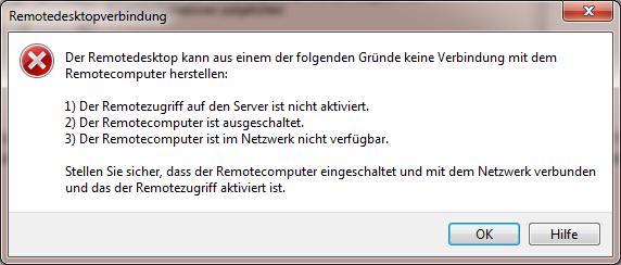 Terminalserver RDP-Verbindungsfehler